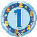 Balon Folie 45 cm Cifra 1 Albastru cu Ursuleti, Qualatex 26277