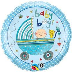 Balon Mini Folie 23 cm Carucior Baby Boy, Qualatex 50078