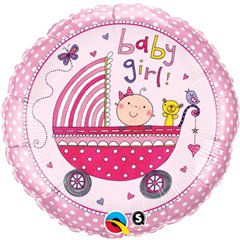 Balon Mini Folie 23 cm Carucior Baby Girl, Qualatex 50249
