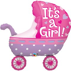 Balon Folie Figurina 89 cm Carucior It's A Girl, Qualatex 43289