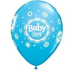 "Baloane latex 11""/28cm inscriptionate Baby Boy , Qualatex 44107"