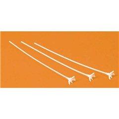 Bat cu rozeta din plastic alb compact, Qualatex 79748, Set 100 buc