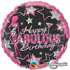 Balon Folie 45 cm Happy Fabulous Birthday, Qualatex 35320