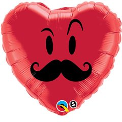 Balon Folie 45 cm inima Mr. Mustache, Qualatex 60066