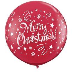 Baloane 90cm Rosu Inscriptionat Merry Christmas, Qualatex 74666, 2buc