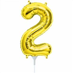 Balon folie cifra 2 auriu - 41cm, Amscan 33079