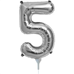 """Baloane Folie cu Cifre 0-9 Silver - 16""""/41cm, Northstar Balloons, 1 buc"""