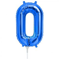 Balon folie cifra 0 albastru - 41 cm, Qualatex 59021