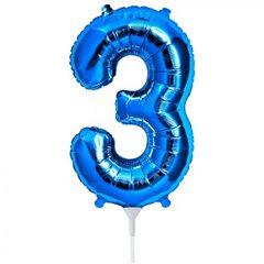 "Balon Folie Cifra 3 Albastru - 16""/41cm, NorthStar Balloons 00455"