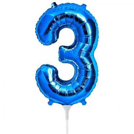 Balon folie cifra 3 albastru - 41 cm, Qualatex 59027