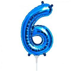 "Balon Folie Cifra 6 Albastru - 16""/41cm, NorthStar Balloons 00458"