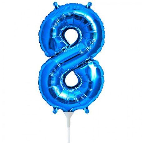 Balon folie cifra 8 albastru - 41 cm, Qualatex 59037