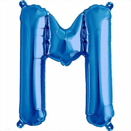 Balon folie litera M albastru - 41 cm, Qualatex 59406