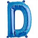 Balon Folie Litera D Albastru - 41 cm, Qualatex 59388