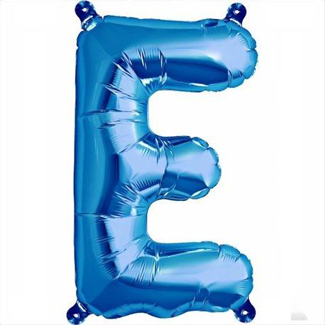 Balon folie litera E albastru - 41 cm, Qualatex 59390