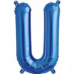 "Balon Folie Litera U Albastru - 16""/41 cm, Northstar Balloons 00551"
