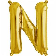 """Balon Folie Litera N Auriu - 16""""/41 cm, Amscan 33039"""