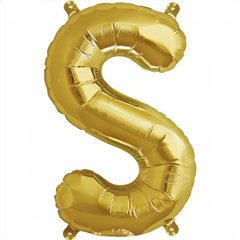 Balon folie litera S auriu - 41cm, Amscan 33049