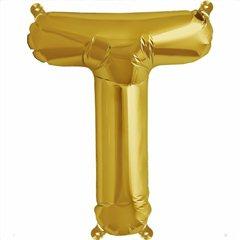 """Balon Folie Litera T Auriu - 16""""/41 cm, Northstar Balloons 00586"""