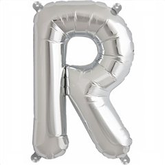 "Balon Folie Litera R Argintiu - 16""/41 cm, Amscan 33046"