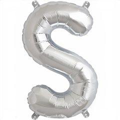 "Balon Folie Litera S Argintiu - 16""/41 cm, Northstar Balloons 00497"