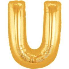 Balon folie mare litera U auriu - 86cm, Radar 32988
