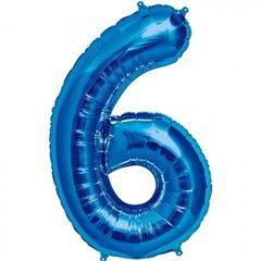 "Balon Folie Mare Cifra 6 Albastru - 34""/86cm, Amscan 28288"