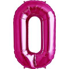 "Balon Folie Mare Cifra 0 Magenta - 34""/86cm, Amscan 28272"