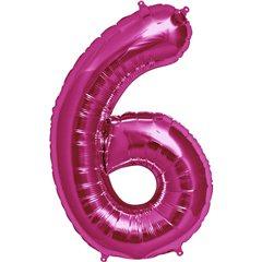 "Balon Folie Mare Cifra 6 Magenta - 34""/86cm, Northstar Balloons 00140"