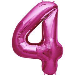 "Balon Folie Mare Cifra 4 Magenta - 34""/86cm, Amscan 28284"