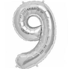 "Baloane Folie Mari cu Cifre 0-9 Silver - 34""/86cm, Amscan, 1 buc"
