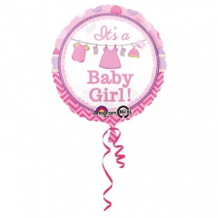 Balon Folie 45 cm It's A Baby Girl, Amscan 30909, 1 bucata