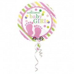 Balon Folie 45 cm Welcome Baby Girl, Amscan 32177, 1 bucata