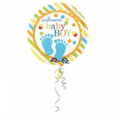 Balon Folie 45 cm Welcome Baby Boy, Amscan 32176, 1 bucata