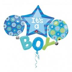 Set Baloane Botez It's A Boy, 134 x 99 cm, Amscan 31222, 4 bucati