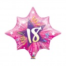 "Balon Folie Figurina Shining Star Hot Pink 18 ani - 28""/71cm, Qualatex 20600, 1 bucata"
