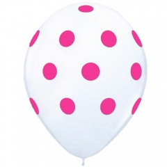 Baloane latex albe inscriptionate Big Polka Dots, Radar GI.DOTS.ALB