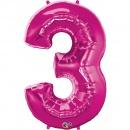 """Balon Folie Mare Cifra 3 Magenta - 34""""/86cm, Qualatex 30563"""