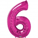 """Balon Folie Mare Cifra 6 Magenta - 34""""/86cm, Qualatex 30575"""