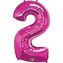 """Balon Folie Mare Cifra 2 Magenta - 34""""/86cm, Qualatex 30559"""