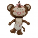 Balon mini figurina Baby Girl Maimutica fetita - 36cm + bat si rozeta, Northstar Balloons 00411