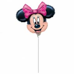 Balon Mini Figurina Minnie Mouse + Bat si Rozeta, Amscan, 24 cm, 07890