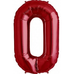 "Balon Folie Mare Cifra 0 Rosu - 34""/86cm, Amscan 28271"