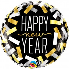 "Balon Folie 45 cm "" Happy New Year "", Qualatex 43531"