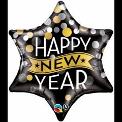 Balon Folie 56 cm Happy New Year Star, Qualatex 19035