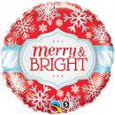 """Balon Folie 45 cm """"Merry & Bright"""", Qualatex 18945"""