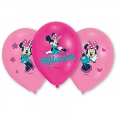 Baloane latex 28cm inscriptionate Minnie Mouse, Amscan 999239, Set 6 buc