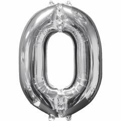 """Balon Folie Cifra 0 Argintiu - 26""""/66cm, Anagram 31954"""