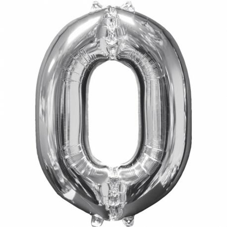 Balon Folie Cifra 0 Argintiu - 26''/66cm, Anagram 31954