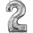 """Balon Folie Cifra 2 Argintiu - 26""""/66cm, Anagram 31956"""